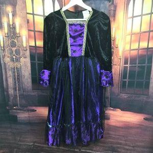 Girls Witch Costume Purple Black Dress + Witch Hat